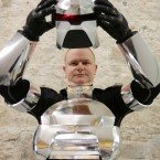 Shaun Galligan from Cavan dresed as a Cylon from Battlestar Galactica.<span class=