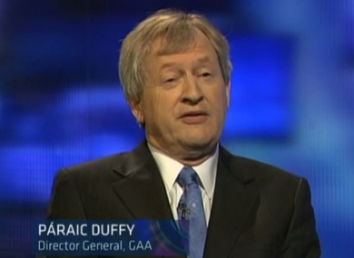 Paraic Duffy speaking on Prime Time last night.