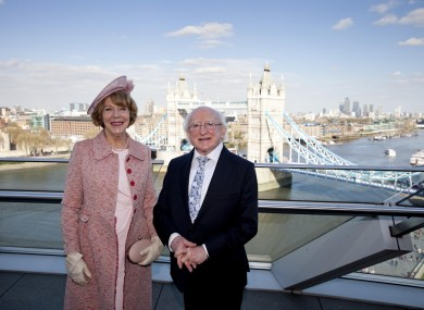 Sabina Higgins and President Michael D Higgins pose at City Hall in London today.