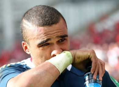 Simon Zebo shows his disappointment after the 24-16 defeat.