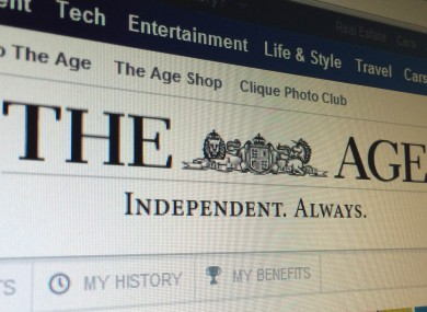 The homepage of The Age, where the offending headline appeared.