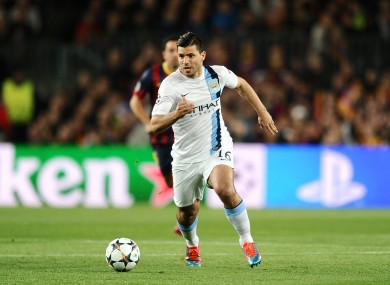 Manchester City striker Sergio Aguero in action against Barcelona in this season's Champions League.