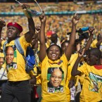 Excited supporters cheer for South African President Jacob Zuma at a final African National Congress (ANC) election rally in the Soweto township of Johannesburg.<span class=