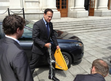 Leo Varadkar at a photo-op in Government Buildings today.