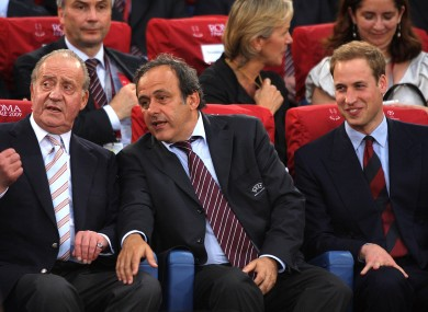 President of the Football Association Prince William (right), UEFA president Michel Platini and King Juan Carlos of Spain.