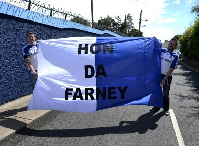 Brian Quinn and Barry Tate show their support for Monaghan.
