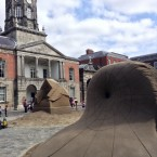 Pictured is the back of Einstein where you can see a black hole. As well as the back of the White Sculpture and part of Dublin Castle.<span class=