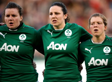 Kerri-Ann Craddock (left), Paula Fitzpatrick and Amy Davis of Ireland Women.