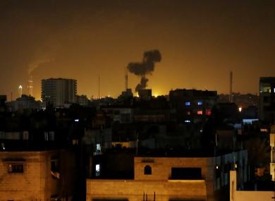 Smoke rises after an Israeli missile strike in Beit Lahia, northern Gaza Strip.