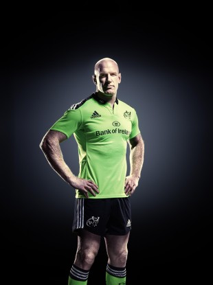 O'Connell in the new Adidas Munster Rugby 2014/15 alternate kit.