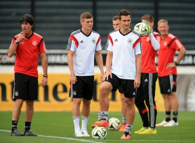 Germany manager Joachim Loew and Miroslav Klose (right) during a training session at the Estadio Sao Januario.