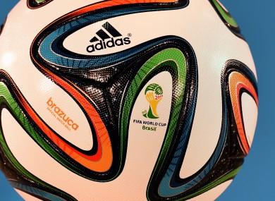 Detail of the 'Brazuca' official match ball of the FIFA World Cup 2014.
