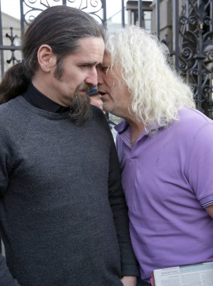 Luke 'Ming' Flanagan, who is now an MEP, and Mick Wallace outside Leinster House in January.