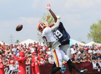 New England Patriots CB Brandon Browner breaks up a pass to Washington Redskins WR Cody Hoffman during an NFL Football training camp.