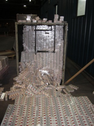 Some of the 5 million cigarettes recently seized at Rosslare.