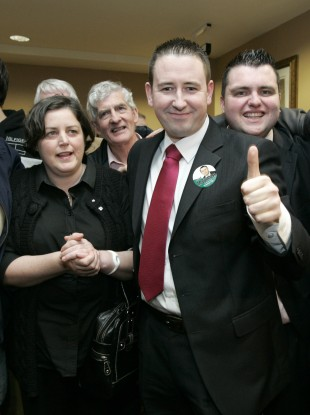 Fianna Fail's Dublin West by-election candidate Cllr. David McGuinness, 2nd from right, is pictured with the late Brian Lenihan's sister Anita at the City West Hotel count centre
