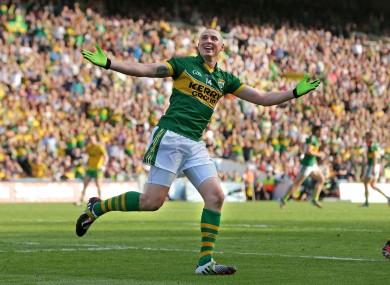 Kerry's Kieran Donaghy celebrates scoring a goal against Donegal.