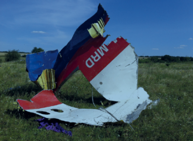 Part of the wreckage of MH17