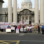 Survivors of Symphysiotomy outside Government Buildings.<span class=