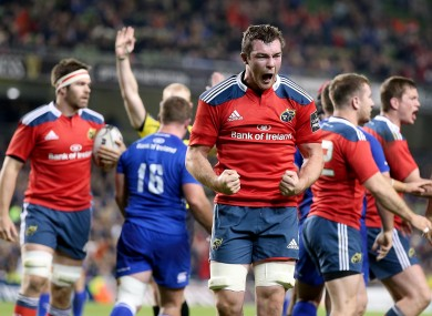 Peter O'Mahony shows his delight at the final whistle.