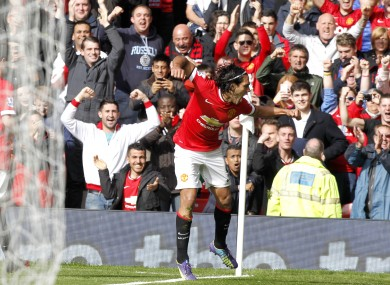 Manchester United's Radamel Falcao celebrates scoring his team's second goal of the game.