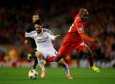 Balotelli didn't make much of an impression against Real Madrid