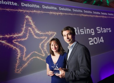 TheJournal.ie Editor Susan Daly and Journal Media Ltd COO Adrian Acosta accepted the Rising Star award.