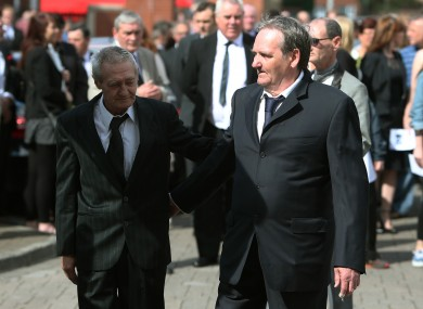 Paddy Hill and Paddy Armstrong (right) at the funeral of Gerry Conlon.