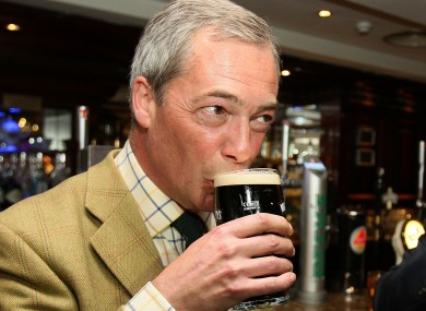 UKIP leader Nigel Farage enjoying a pint of stout.