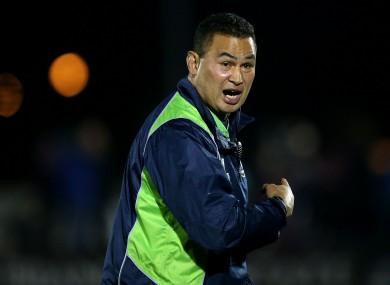 Connacht's head coach Pat Lam shouts instructions during tonight's game.