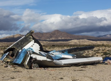 Wreckage lies near the site where the Virgin Galactic SpaceShipTwo came down after breaking up at 50,000 feet.