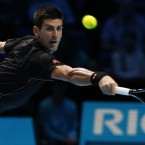 Novak Djokovic competes against Tomas Berdych during the Barclays ATP World Tour Finals at The O2 Arena, London.<span class=