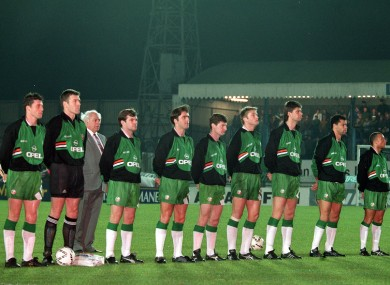 The Irish team line up for The National Anthem prior to their 1993