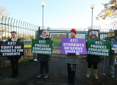 Teachers on strike earlier this month