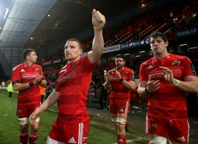 Andrew Conway and his teammates thank the Thomond Park crowd yesterday.