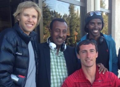 Harrington, front, alongside Olympic 5,000m and 10,000 champion Mo Farah.