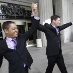 Todd, left, and Jeff Delmay, celebrate as they leave the courthouse after having attended a hearing in which a Miami-Dade Circuit Judge cleared the way for gay and lesbian couples to marry in Miami. Judge Sarah Zabel provided a jump-start Monday to Florida's entry as the 36th state where gays and lesbians can legally marry, saying she saw no reason why same-sex couples couldn't immediately get their licenses in Miami-Dade County ahead of a midnight launch statewide. (AP Photo/Wilfredo Lee)<span class=