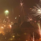 Fireworks in Erfurt, central Germany.<span class=
