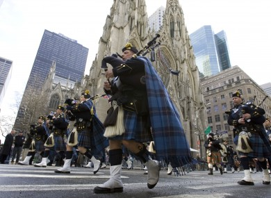 The St. Patrick's Day parade marches down Fifth Avenue in Manhattan