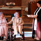 Vivian Boyack (91) and Alice Nonie Dubes (90) at their wedding in Iowa. They have been together for 73 years (2014).