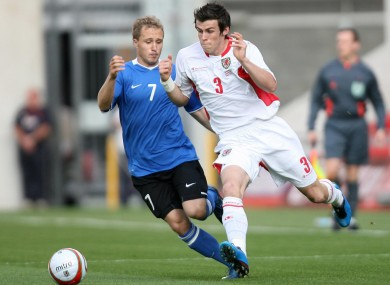 Estonia's Sander Puri tracking Gareth Bale during a game against Wales in 2009.