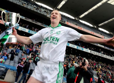 Ballyhale's Henry Shefflin celebrates with the cup.