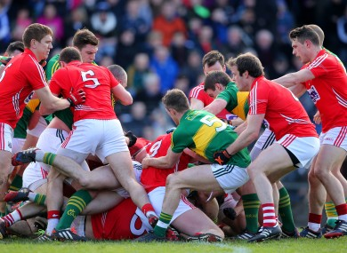 Tempers flared between Cork and Kerry players.