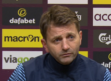 Sherwood speaking at the post-match press conference.