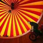 Jake Messham rides the Messham's Wall of Death at the Rua Red arts centre in Tallaght, Dublin, as part of the exhibition A Matter of Life and Death by Stephen Skrynka which celebrates Ireland's famed Wall of Death, as immortalised in the film Eat The Peach.<span class=