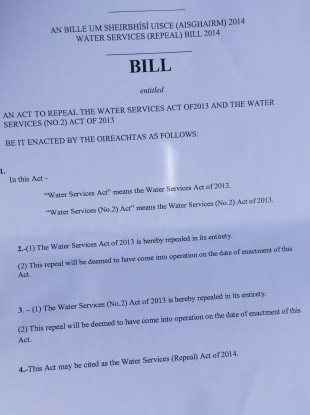 The Water Services Repeal Bill 2014, which Sinn Féin has published today