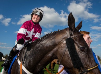 The victorious Katie Walsh on Thunder and Roses.