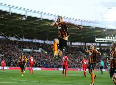 Dawson leaps in the air after scoring the winner.