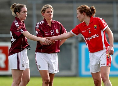 Galway's Caitriona Cormican and Aoibheann Daly with Rena Buckley of Cork after the game.