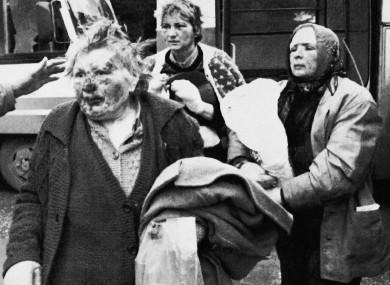 Refugees from Vukovar in Bosnia-Herzegovina on 22 November 1991